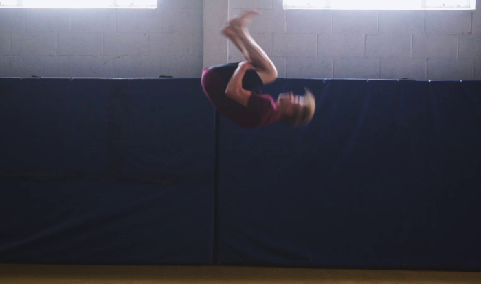 Josh Croall performing a Backflip